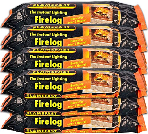 Flame-Fast Instant Light Smokeless Each Fire Logs Burn 2 Hours X Case of 12