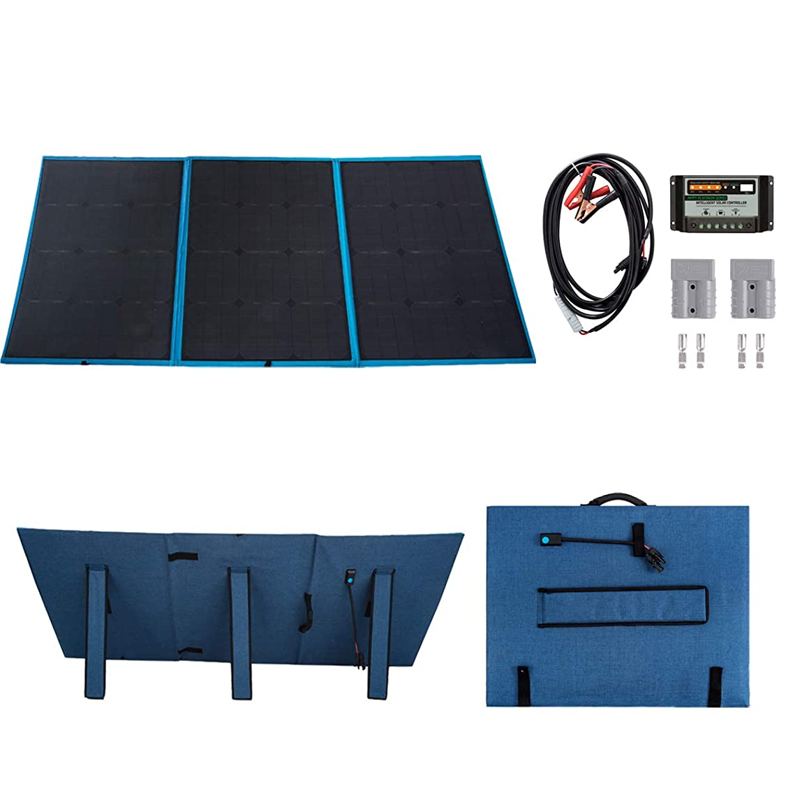 Betop-camp 150Watt Folding Solar Panel, 12V Monocrystalline18V Portable Solar Charger with a 10A Solar Charge Controller for Camping, Caravanning, Motorhome, Laptop, Boat Battery 12V System (Blue)