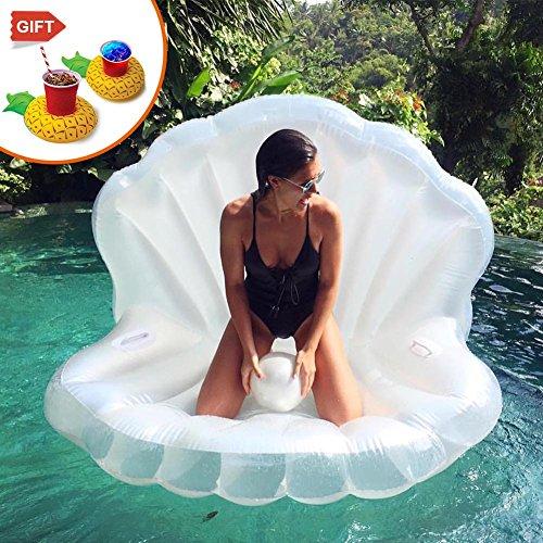 WLZP Aufblasbare Pool Luftmatratze, Riesige Pearl Shell Float Spielzeug Doppelventil Garantiert Eine Enge Verdickung, - Geschenk: Pearl Ball & Aufblasbare Getränkehalter