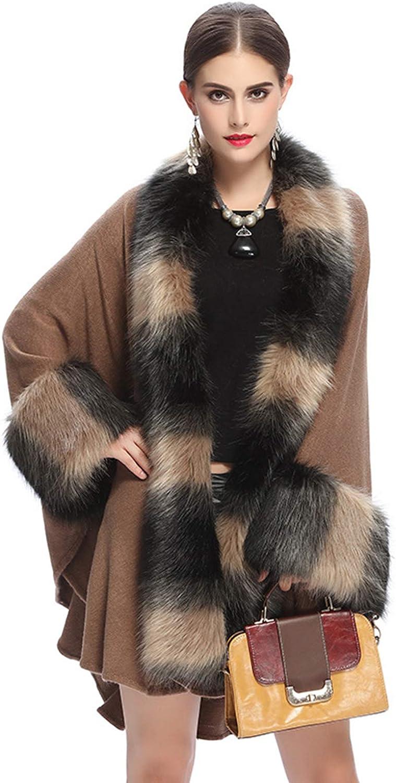 NCDIMS Women's Cape Coat Winter Faux Fur Fall Warm Pea Coat Outwear Shawl Wraps