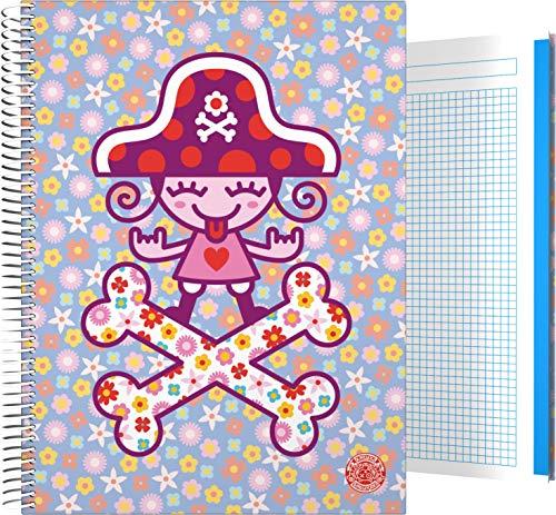 Grafoplás 16501950 Colección Katuki Saguyaki Cuaderno, Cuadriculado 5 Mm, Modelo Pirate Heart, A4