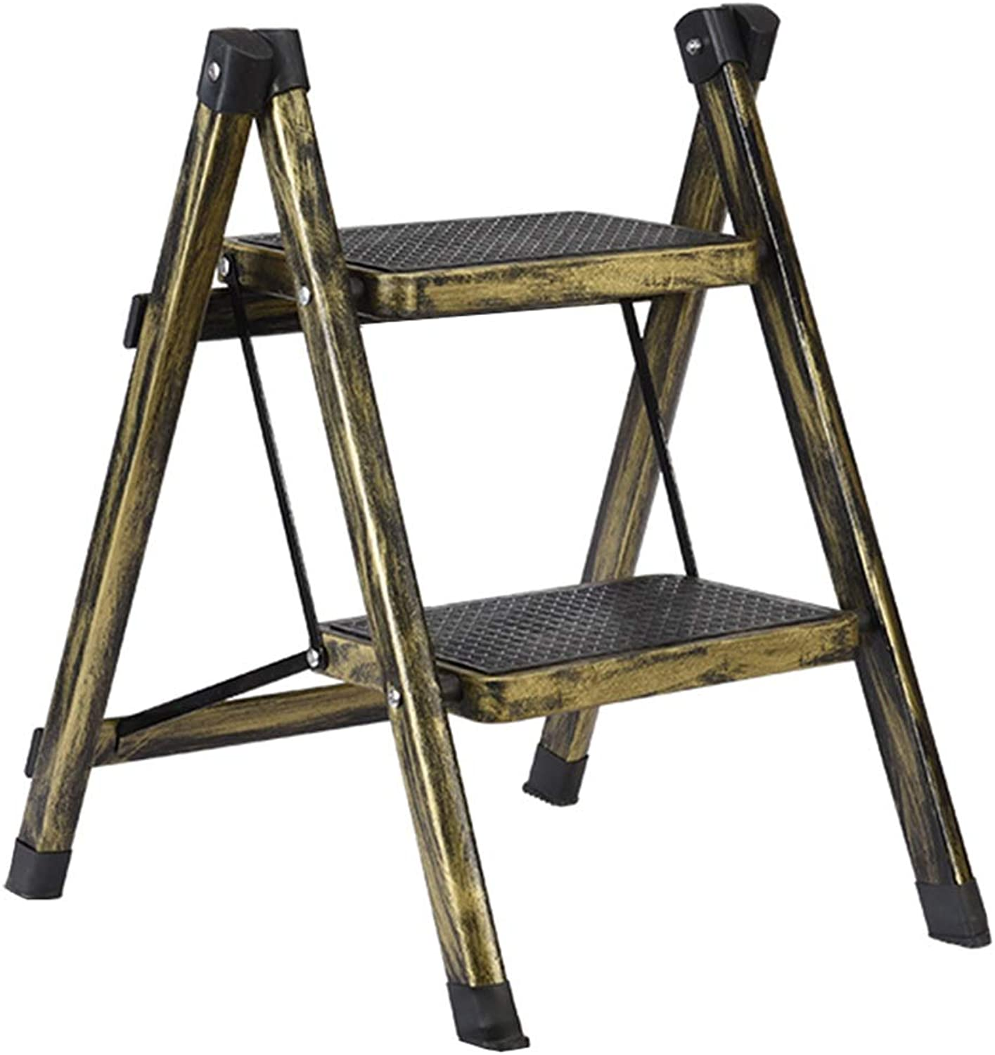 ZHAOYONGLI Stool Modern Fashion Folding Ladder Stool Two-Step Bench Stool Multi-Function Home Change shoes Bench Creative Solid Durable Long Lasting (color   Brass, Size   40  51  58cm)