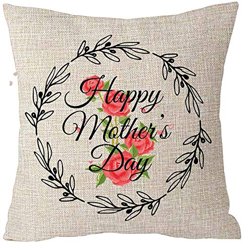Fhdang Decor Happy Mothers Day Black Wreath Rose Best Gift Cotton Linen Throw Patio Furniture Pillow Covers Cushion Cover 26x26 Inch