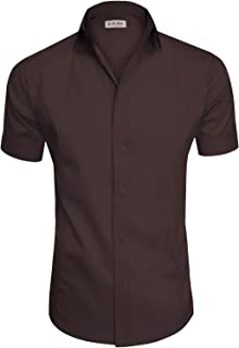 Men's Regular-Fit Short-Sleeve Casual Plain Button Down Dress Shirts