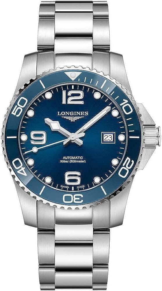 longines orologio automatico in acciaio inox con lunetta in ceramica l3.781.4.96.6