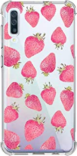 Oihxse Shockproof Case Compatible for Galaxy M30/A40S Clear Back with Design, Soft Silicone TPU Ultra Thin Slim Fit Chic [Air Cushion] Corners Protection Crystal Transparent Cover(Strawberries)