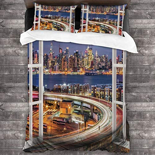 MAYUES Duvet cover bedding Set,United States Urban Life Themed Skyscrapers With Brooklyn Bridge Illustration,3 Piece Set bedding with 2 pillowcases,King(220 * 230cm)