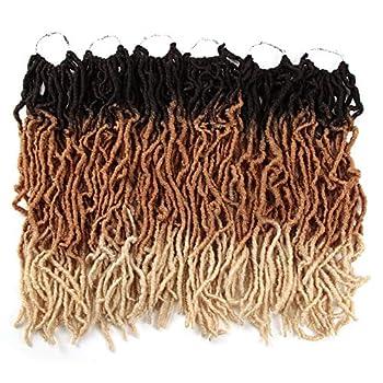 FASHION IDOL Nu Faux Locs Crochet Hair 18 Inch Natural Wavy Soft Locs Crochet Hair 6 Bundles Crochet Dreadlocks Extensions for Black Women Natural Brown & Gold & 613  TT4/27/613