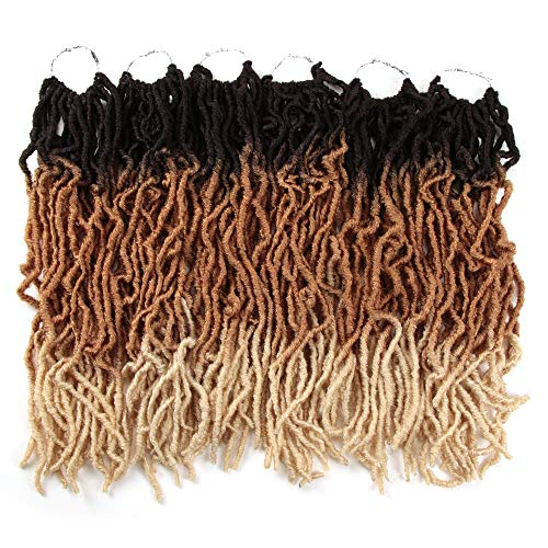 FASHION IDOL Nu Faux Locs Crochet Hair 18 Inch Natural Wavy Soft Locs Crochet Hair 6 Bundles Crochet Dreadlocks Extensions for Black Women Natural Brown & Gold & 613 (TT4/27/613)