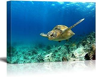 "wall26 - Green Sea Turtle in Deep Ocean Sea - Canvas Art Wall Decor - 24""x36"""