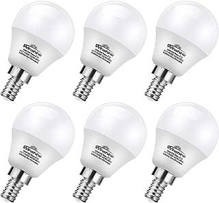 Winshine LED Light Bulb A15, Candelabra Base 6W=60W Equivalent Globe Bulb .G45 E12 Base 6W Candle Light for Ceiling Fan, Chandelier Bulb, 6W Daylight Non Dimmable LED Base Bulb, 6 Pack. (5000K)