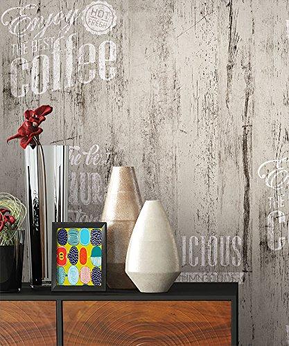 NEWROOM Landhaustapete Grau Papiertapete Schwarz Weiß Landhaus,Natur Holz schöne moderne und edle Design Optik , inklusive Tapezier Ratgeber