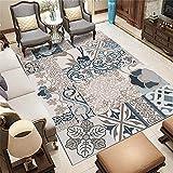 Alfombra alfombras Entrada Alfombra marrón Azul de la Sala de Estar del Estampado de Flores de la Pintada para la decoración del Dormitorio Antideslizante Suelo 140*200cm