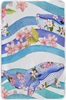 CUTEXL Blanket Watercolor Floral Animal Shark Art Warm Lightweight Durable Bed Twin Size Blanket Outdoor Park Camping Beach Mat 60x90 inches