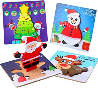 AOLIGE Xmas Wooden Jigsaw Puzzles for Toddlers Kids 1 2 3 Years Old Preschool Educational Toys 4 Pack for Boys and Girls