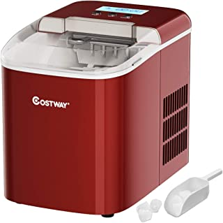 COSTWAY Ice Maker Machine, 26LBS/24H with LCD Display Clear Operation Control Panel Portable and Compact Ice Making Machine High Efficiency Makes with Ice Scoop (Red)