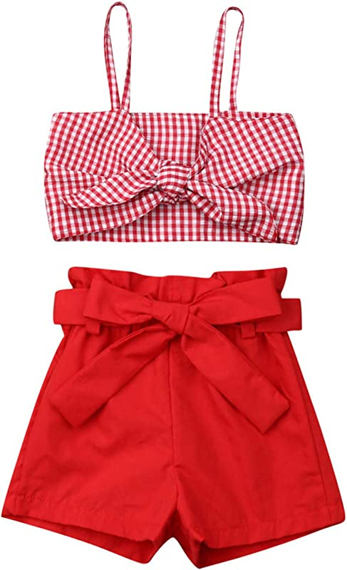 VISGOGO Toddler Baby Girls Outfits Clothes Set Halter Crop Tops Flamingo Short Pants