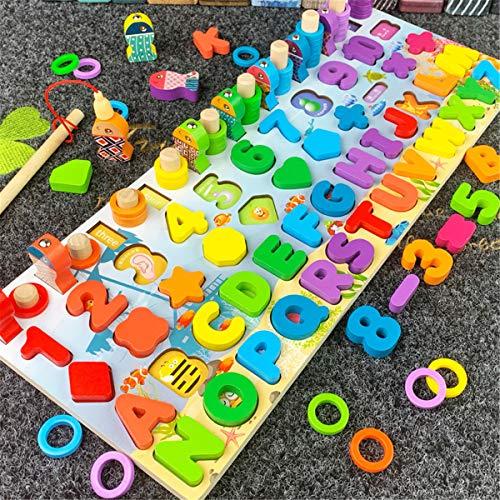 ATATMOUNT Montessori Jouets éducatifs en Bois Enfants Conseil mathématique pêche Enfants en Bois...