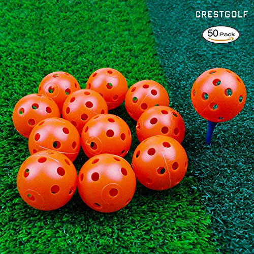 Crestgolf 12/50 Pack Plastic Golf Training Balls – Airflow Hollow 40mm Golf Balls for Driving Range, Swing Practice, Home Use,Pet Play.(Orange,50pack)