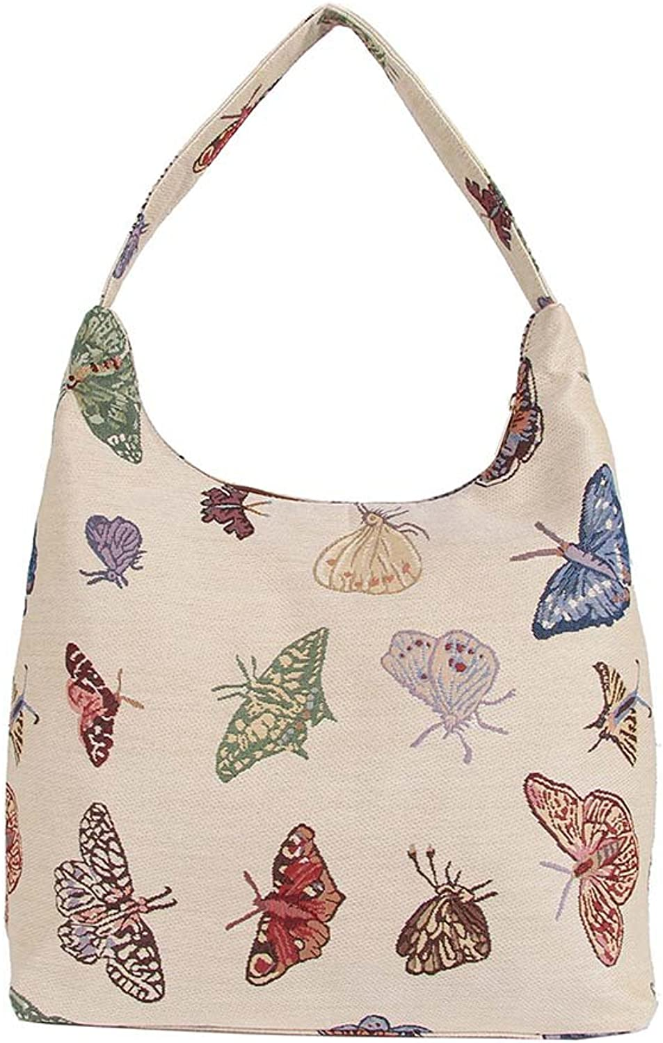 Butterfly Ladies Tapestry Top Zip Hobo Shoulder Bag Beach Bag by Signare (HOBOBUTT)