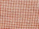 bestickt Gingham Seersucker Baumwolle Kleid Stoff, orange,