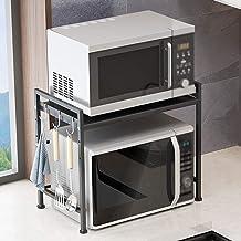 YLMF - Estante para horno microondas extensible con 3 ganchos, acero al carbono, negro, tamaño 48 x 32 x 27,7 cm