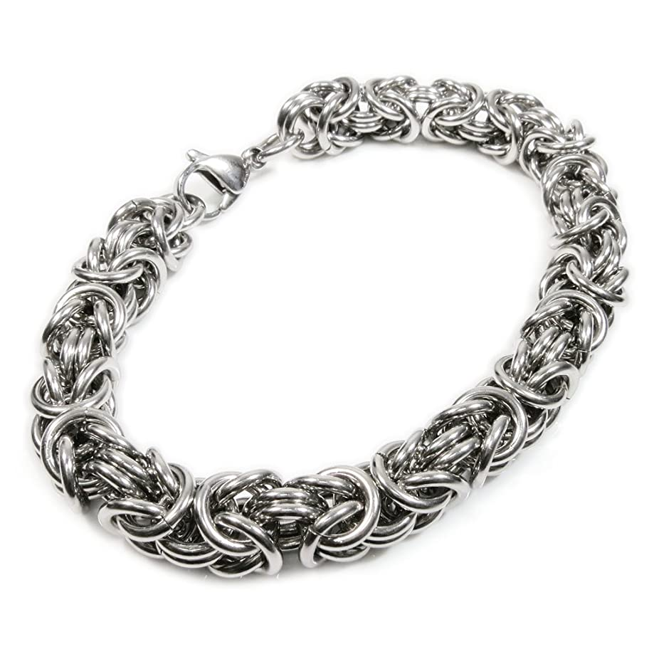 Stainless Steel Round Byzantine Chain Bracelet 8mm