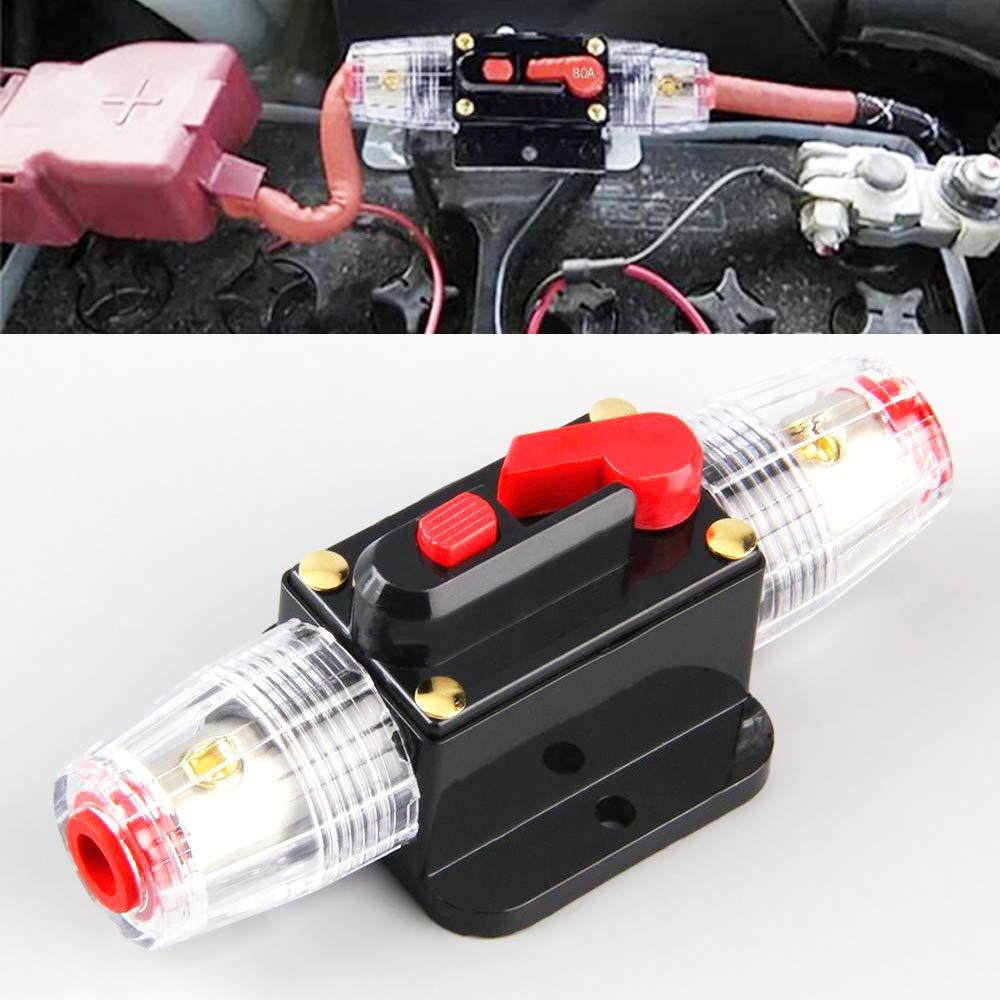 Bestine Disyuntor en línea de audio de coche de 12 V-24 V, portafusibles, bloque de fusibles en línea para sistema de inversor solar de audio de coche, protección 60 A