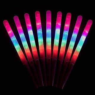 Yoye 12pcs bâtons Lumineux de Barbe à Papa en Vrac, bâtons de matériau PC de qualité Alimentaire LED avec 8 Modes d'effet ...
