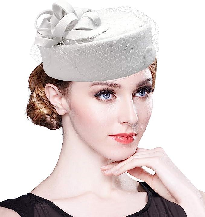 1950s Women's Hat Styles & History Z&X British Vintage Wool Felt Pillbox Hat Ladies Church Derby Winter Fascinator Hat Veil Flower Fedoras  AT vintagedancer.com