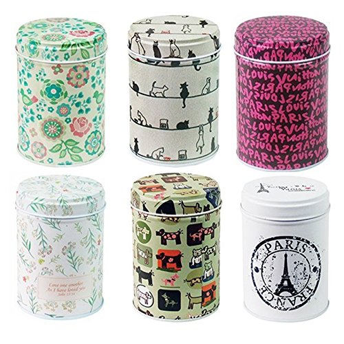 LeoyoubeiDry Storage Tinplate Caddy Box RetroColorful Tins Round Tea Tins Set of 6