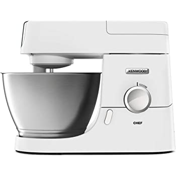 Kenwood Chef Stand Mixer for Baking - Stylish Food Mixer in White with K-beater, Dough Hook, Whisk and 4.6 L Bowl, 1000W, KVC3100, White