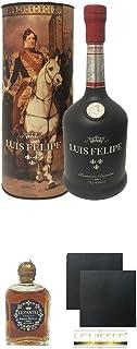 Luis Felipe Gran Reserva 60 Jahre Brandy 0,7 Liter  Lepanto Brandy 5 cl Miniatur  Schiefer Glasuntersetzer eckig ca. 9,5 cm Durchmesser 2 Stück