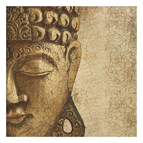 Apalis Holzbild Buddha - Vintage Buddha - Wandbild Quadrat 1:1, Größe HxB:30cm x 30cm