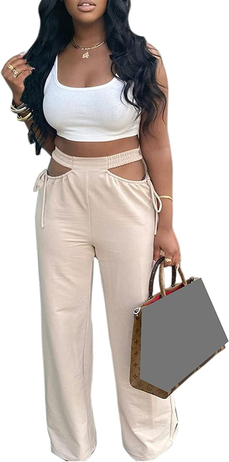 LKOUS Women's Casual Trousers, Summer Solid Color High Waisted Wide Leg Pants