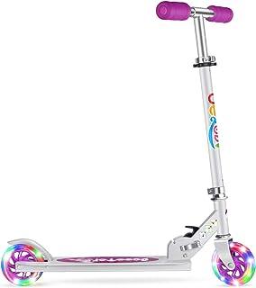 Beleev V1 Scooters for Kids 2 Wheel Folding Kick Scooter for Girls Boys, 3 Adjustable Height, Light Up Wheels for Children...