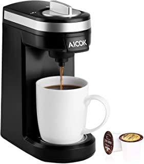AICOK Single Serve Coffee Maker Brewer for K-Cup Pod, 800W 2mins Quick Brew Technology Coffee Machine with 12oz Water Tank, One-Touch Operation and Compact Design, Black, 2019 Updated