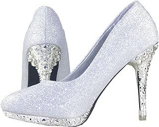 getmorebeauty Women's Silver Glitter Sequin Dress Wedding Shoes High Heel