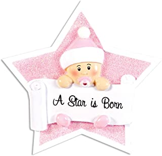 Personalized A Star is Born Baby Christmas Tree Ornament 2019 - Girl Winter Sleep Hat Pink Glitter First New Mom Themed Shower 1st Gift Nursery Grand-Daughter Kid Year - Free Customization (Pink)