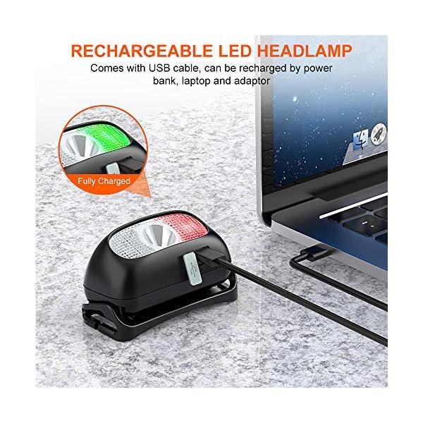 Cocoda Linterna Frontal, Frontal LED USB Recargables con 5 Modos de Luz, 200 Lúmenes, Impermeable IPX4 para Niños y… 1