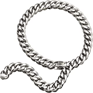 Hip Hop Mens Choker Stainless Steel Miami Chain Curb Cuban Link Rapper Necklace Jewelry with Tail