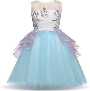 Girls Unicron Costume Tutu Cute Flower Evening Gowns Princess Dress Pageant Party Disney Halloween