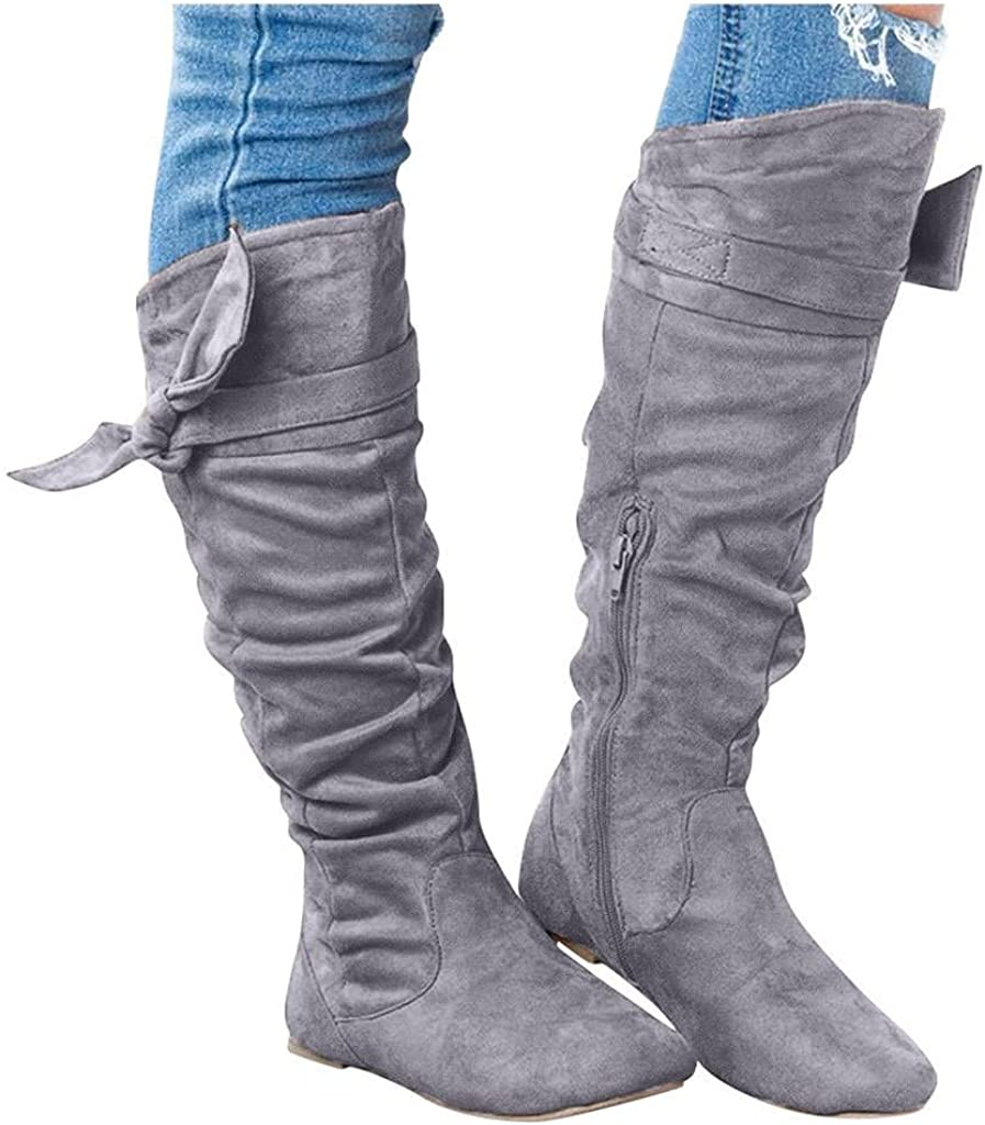Dealing Bargain sale full price reduction Cowboy Boots for Women Knee Calf f Knotted Mid High