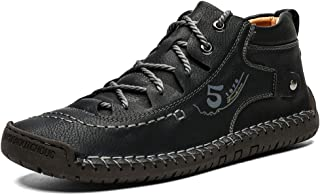 UPIShi Men's Leather Casual Boots Driving Walking Work Outdoor Lace Up Shoes
