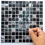 Apsoonsell auto-adhésif étanche en marbre mosaïque murale de cuisine meubles Autocollant pour carrelage Autocollant mural ( 20,3x 20,3cm -10pcs, 1d, 8 * 8inches|20cm*20cm