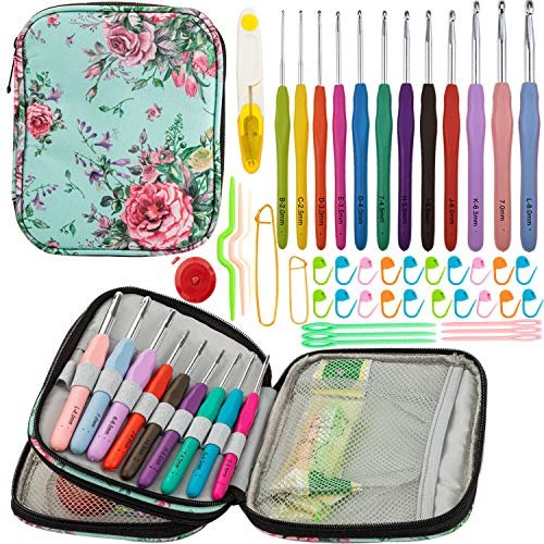 YAOYUE Set of 38pcs Crochet Kit-12 pcs Extra Long Ergonomic Crochet Hook Set Size 2mm-8mm Knitting Needles with Storage Bag and Crochet Accessories
