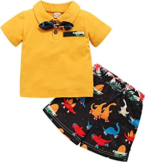 GRNSHTS Toddler Baby Boy Summer Clothes Kids Button Down Bowtie Shirt Tops Floral Dinosaur Print Short Pants Outfit Set