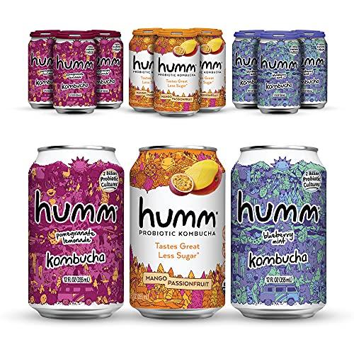 Humm Probiotic Kombucha Fun Variety Pack - 2 Billion Probiotics for Gut Health - Mango Passionfruit, Pomegranate Lemonade and Blueberry Mint (24 Pack)