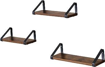 VASAGLE wandplank in industrieel ontwerp, zwevende plank, set van 3, wandmontage, 44,2 x 15,6 x 8,2 cm, stabiele plank voo...