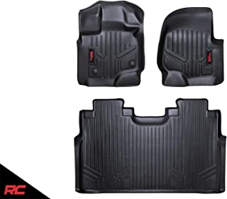 Rough Country Floor Liners (fits) 2015-2019 F150 SuperCrew Bucket 1st 2nd Row Weather Floor Mats M-51512
